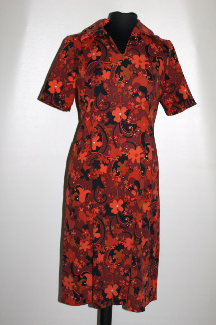 Rochie vintage flori portocalii anii 60