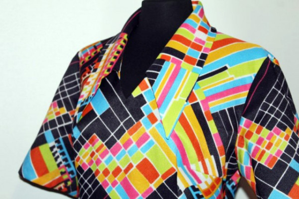 Rochie vintage print geometric multicolor anii '70