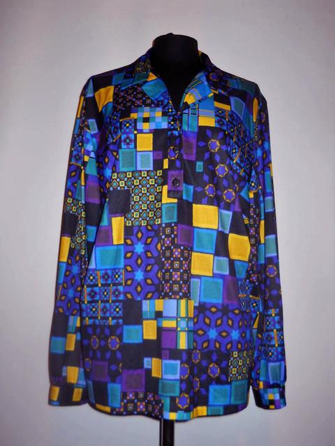 Bluza vintage print geometric galben si violet anii '70