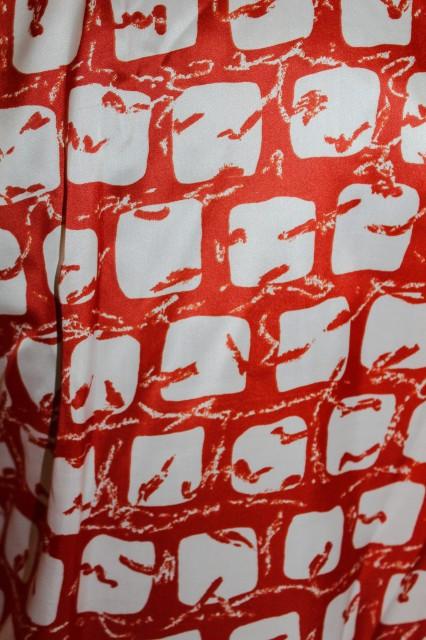Camasa print abstract caramiziu anii '60