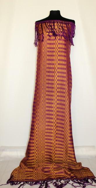 Fular / sal din tapiserie galben si violet anii '70