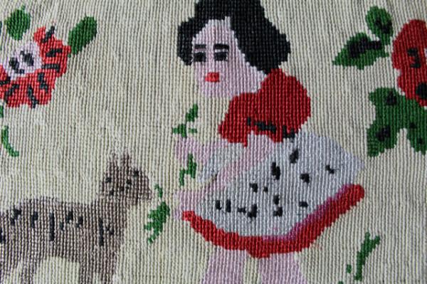 Goblen fetiță și câine anii 50