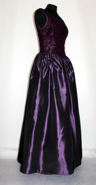 Rochie de gala vintage violet cu bust din dantela anii '60