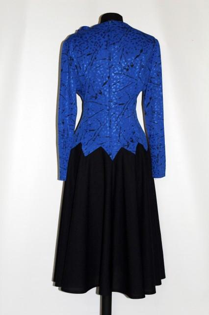 Rochie vintage albastru imperial si negru anii '70 - '80