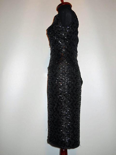 Rochie vintage neagra din dantela cu paiete anii '50