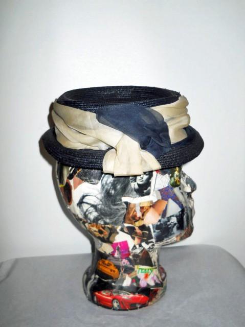 "Boater hat ""Mode Laurenti - Bologna"" perioada edwardiana cca. 1910 - 1915"