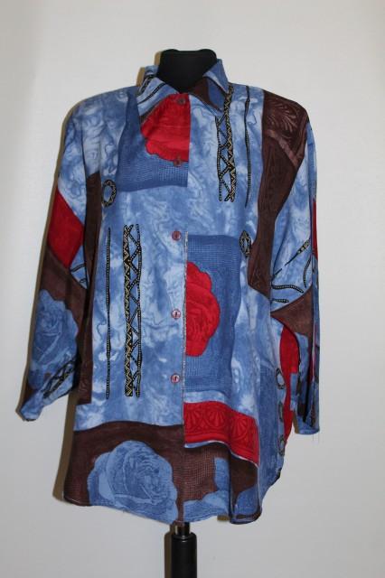Camasa print geometric si floral anii '80