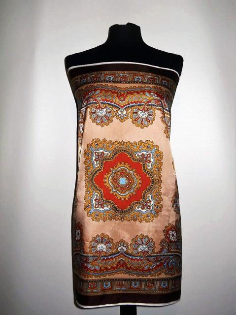Esarfa vintage print oriental maro anii '60
