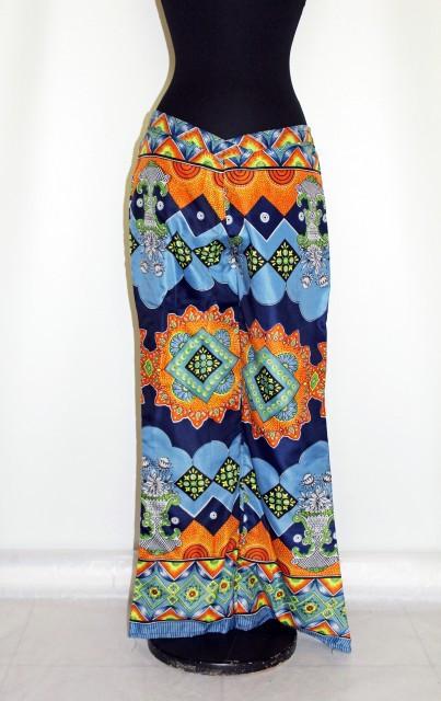 Pantaloni hippie print psihedelic portocaliu cu albastru anii '70