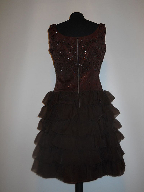 Rochie de ocazie vintage din tafta brodata si mousseline de soie anii '50