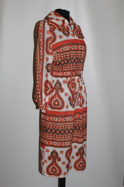 Rochie paisley portocaliu anii '70