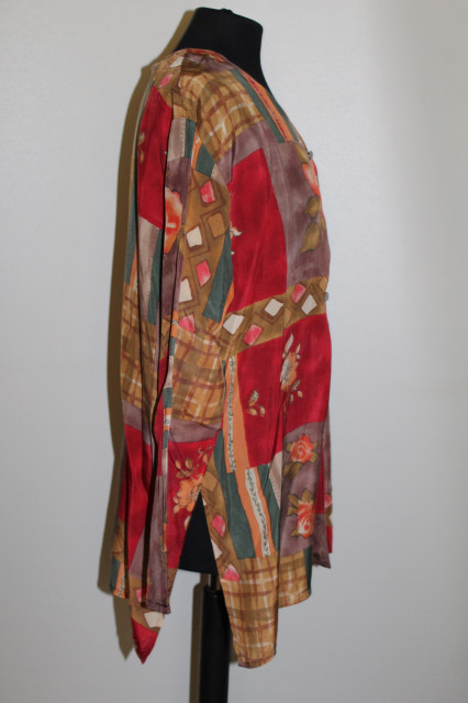 Cămașă retro print floral și geometric anii 80-90