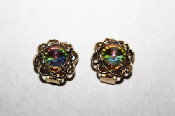 Cercei vintage cristale multicolore anii '60