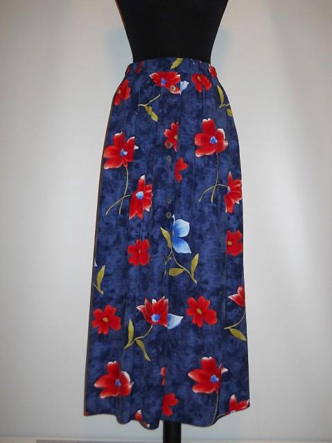 Fusta retro flori rosii anii '80
