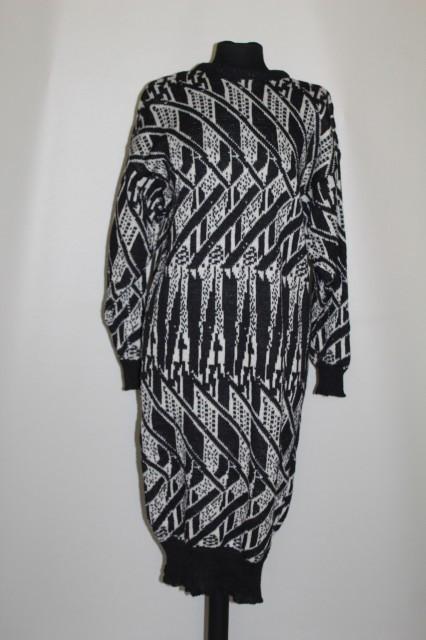 Rochie din tricot alb cu negru anii '80