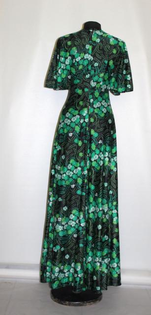 Rochie maxi flori verzi anii 70