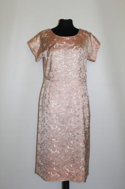 Rochie vintage de ocazie din brocart roz anii  '50