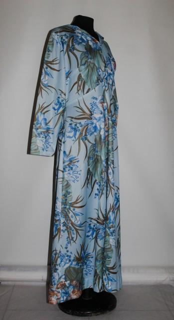 Rochie vintage maxi in tonuri de albastru cu flori mari anii '70
