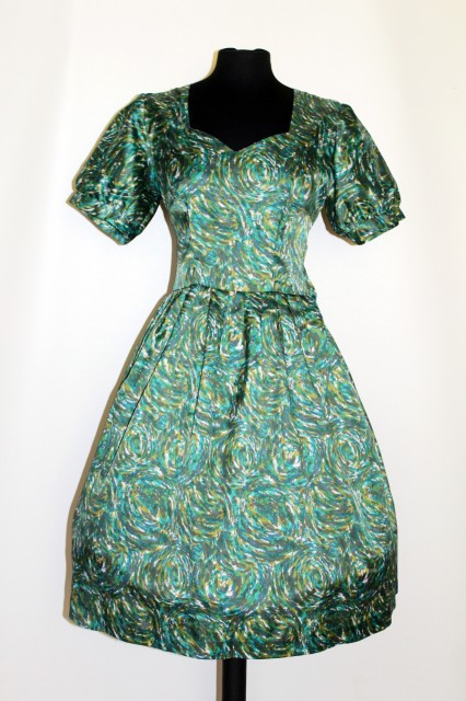 Poze Rochie vintage print abstract verde anii '50