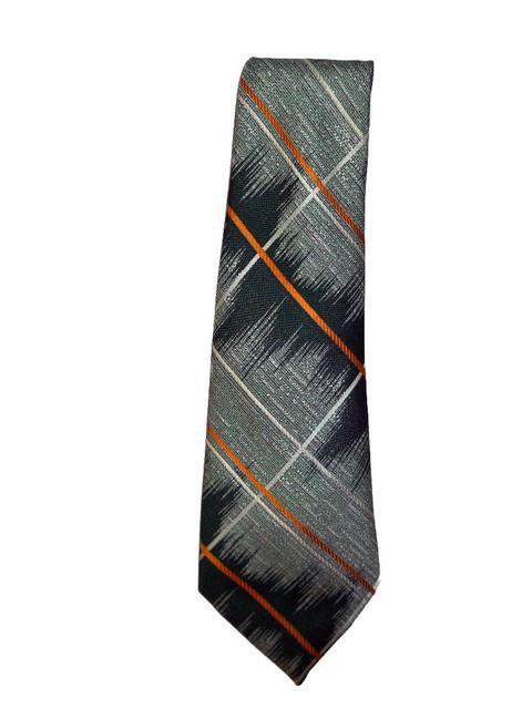 Cravata vintage verde print grafic anii '70