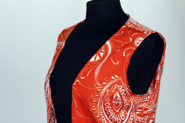 Deux pieces portocaliu print paisley anii '70