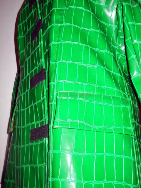 Pardesiu verde iarba stamp crocodil repro anii '70