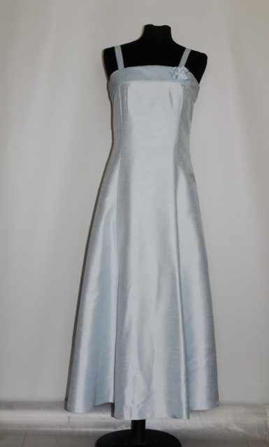 Rochie de seara din santung bleu repro anii '60