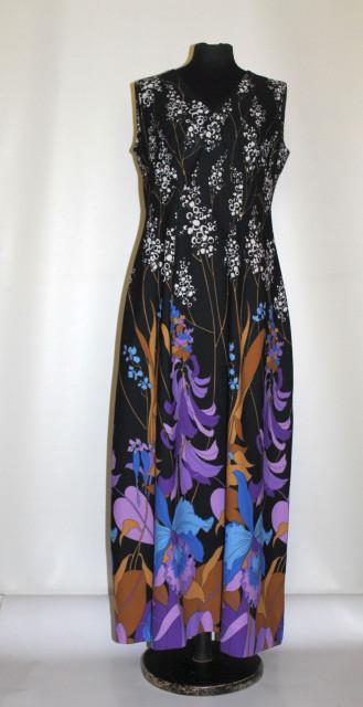 Rochie maxi print floral uriaș anii 70