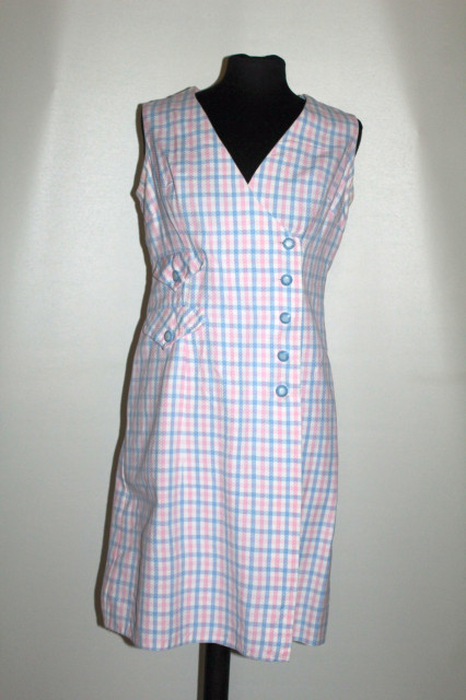 Rochie vintage carouri roz și bleu anii 60