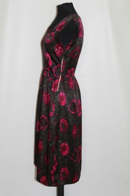 Rochie vintage din matase naturala print trandafiri anii '50