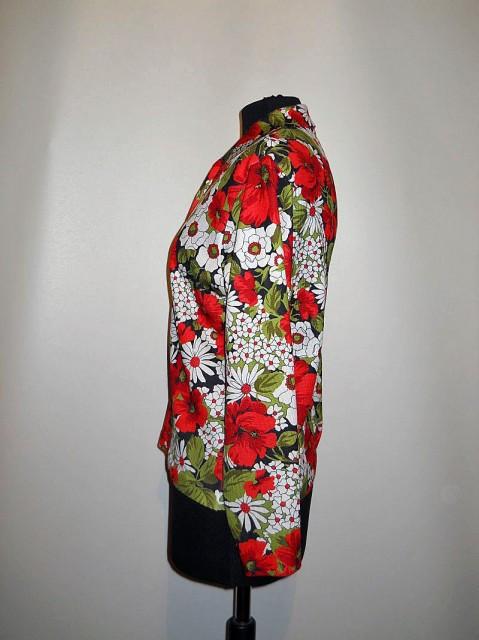 Bluza vintage print floral rosu anii '60