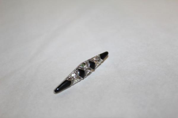 Brosa tip bar pin Art Nouveau email negru anii '30