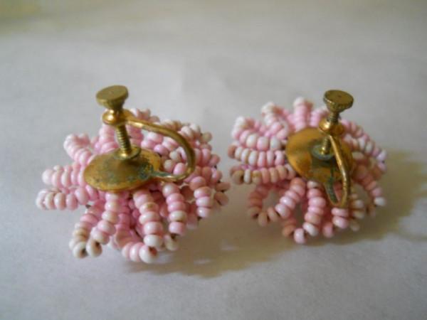 Cercei vintage floare roz margele anii '50
