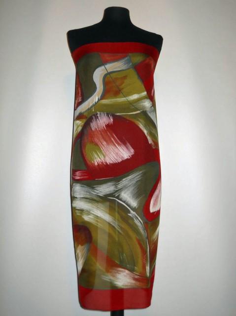 Esarfa retro print abstract verde si rosu anii '80