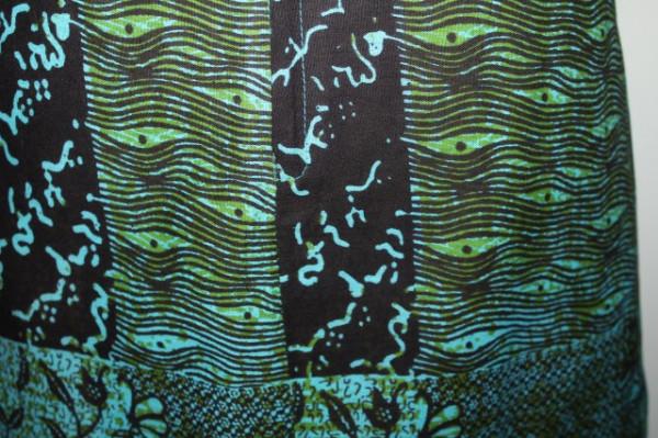Fusta print abstract pe fond turcoaz anii '80
