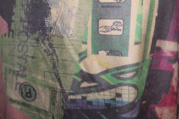 Fustă print figurativ roz antic și verde mentă anii 90