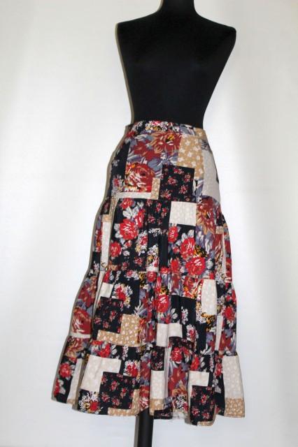 Fustă retro patchwork floral anii 80 - 90