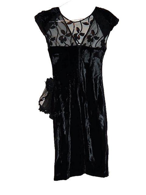 Rochie de ocazie din catifea cu broderie anii '70 - '80