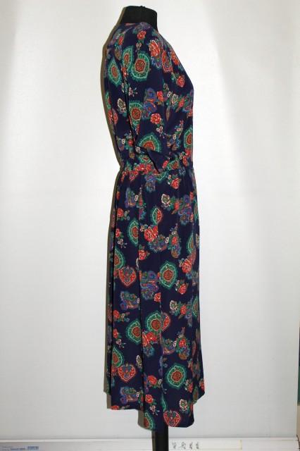 "Rochie retro ""Liz Clairborne"" print oriental si trandafiri anii '80"