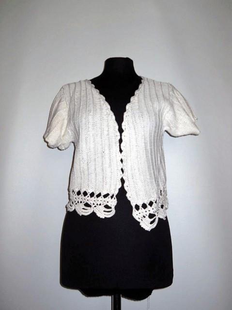 Bolero vintage crem tricotat anii '60
