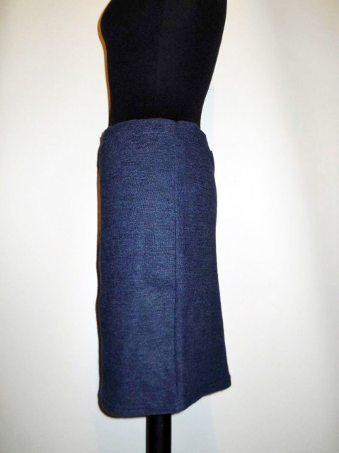 Fusta retro din tricot bleumarin anii '80