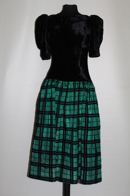 Rochie de ocazie verde malahit cu negru anii '80