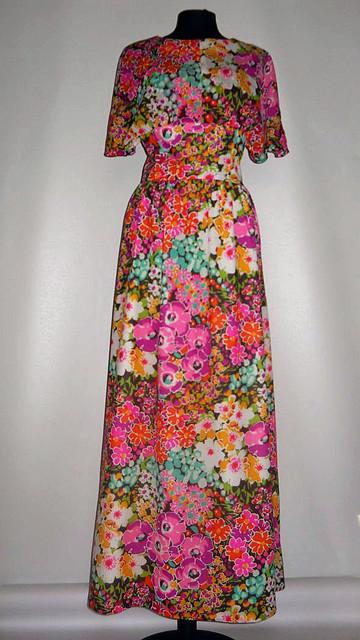 Rochie maxi print floral anii '60