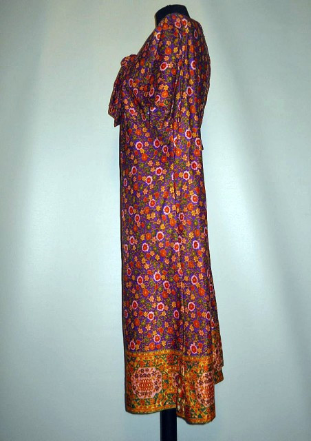 Rochie print floral violet cu portocaliu anii '60