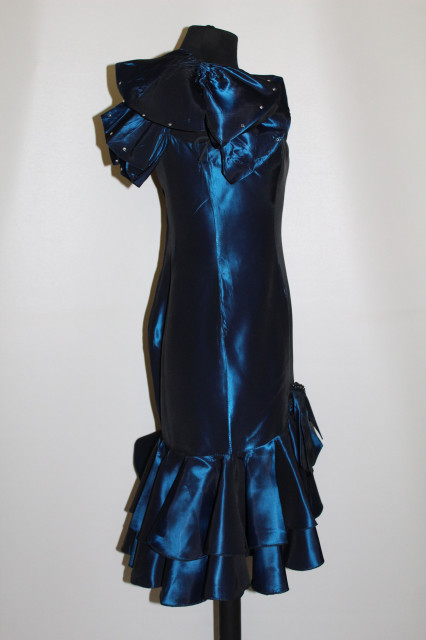 Rochie retro de ocazie albastru metalizat cu funda decorativa anii '80