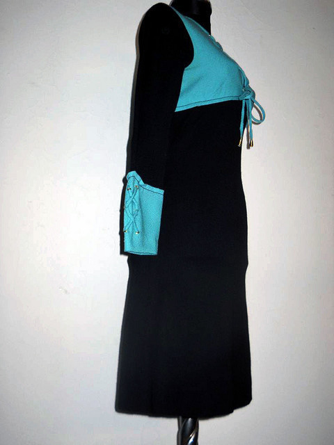 Rochie vintage din crepe bicolor anii '60