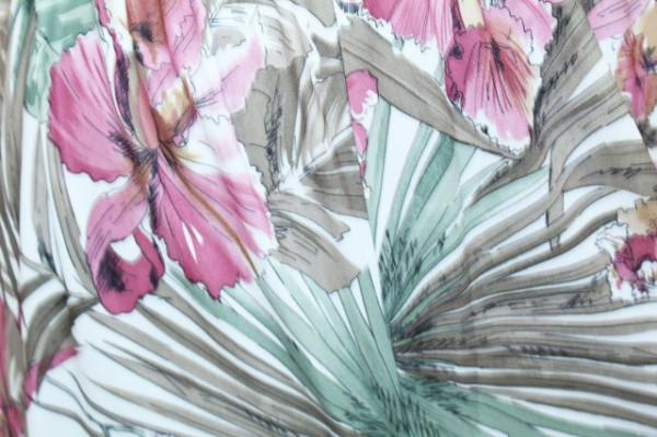Salopeta vintage print orhidee anii '70