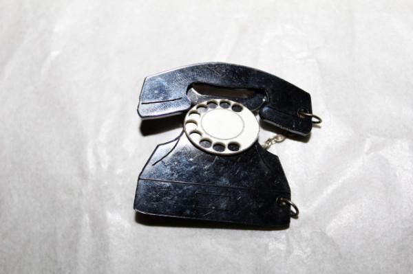 Set mod broșă și cercei telefon anii 60 - 70
