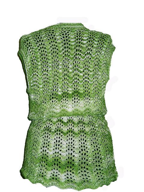 Vesta vintage verde din dantela tricotata anii '70