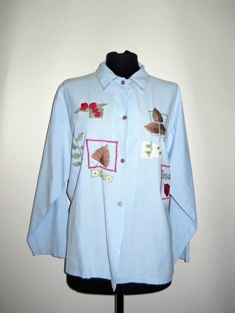 Camasa retro albastra broderie anii '90